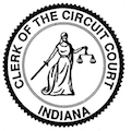 A black and white circular graphic of the logo of the Clerk of the Circuit Court Indiana