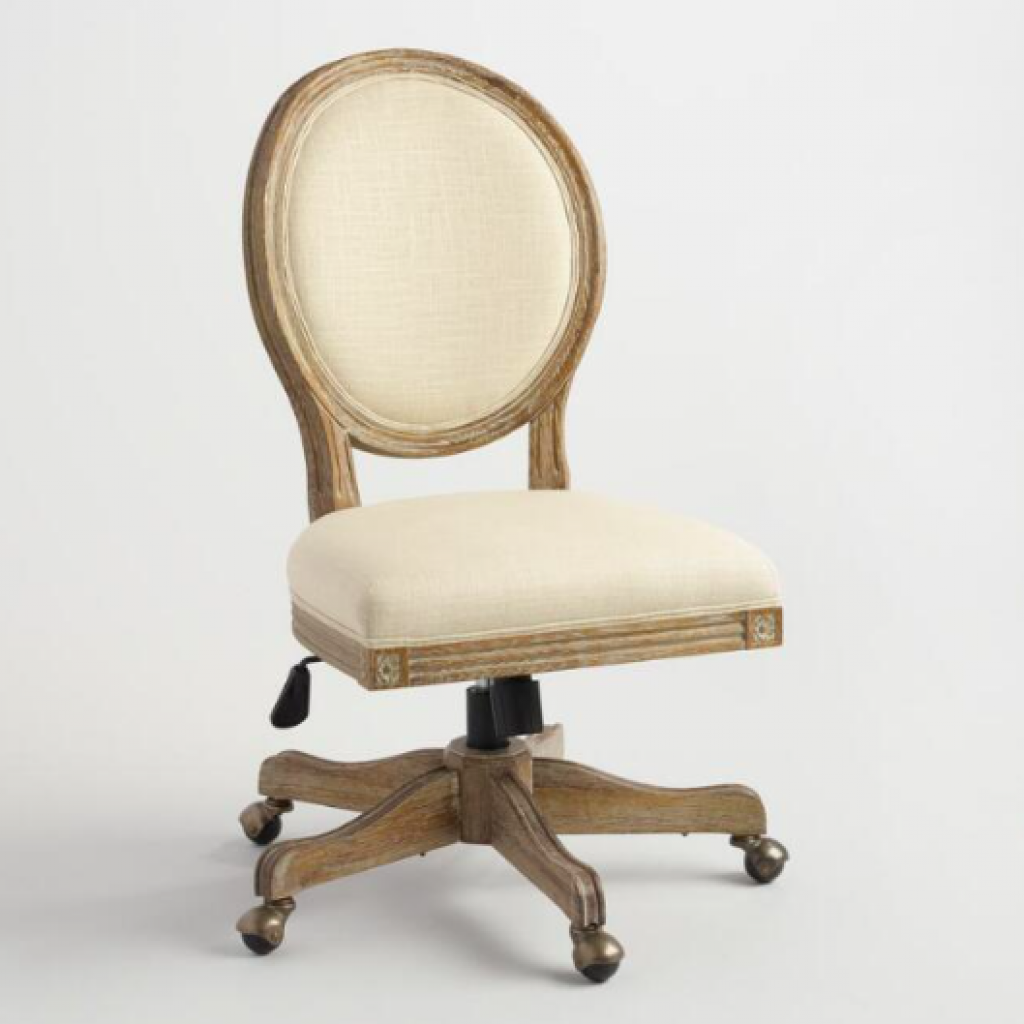 Natural Linen Paige Round Back Office Chair
