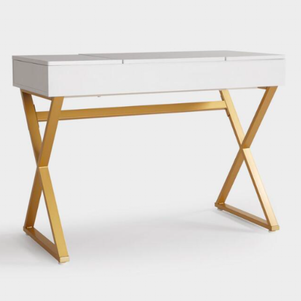 White Wood And Gold Metal Mara Vanity Desk