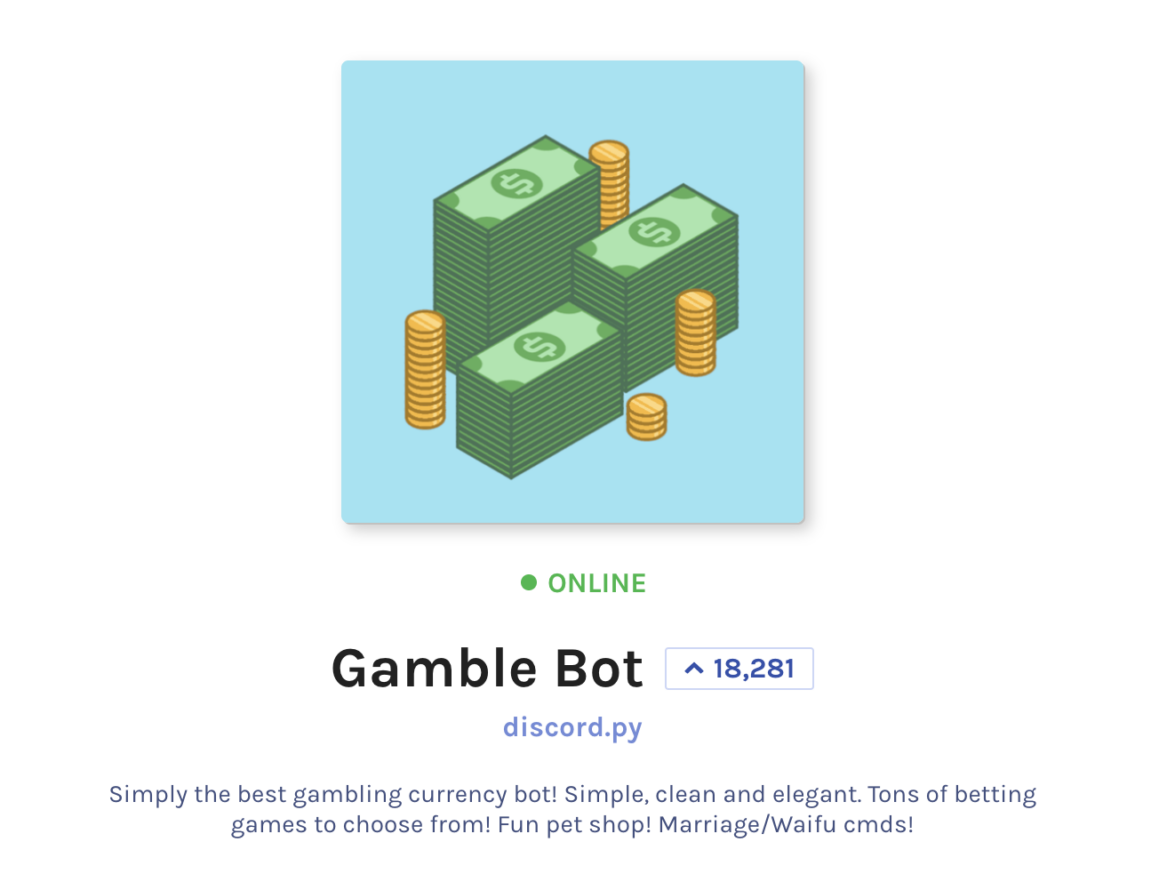 Gamble Bot on Discord Screenshot