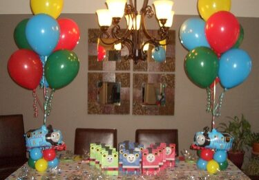 helium balloons at party