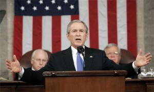 """Bush in 2002 with his famous """"axis of evil"""" speech.  Not much has changed, George."""