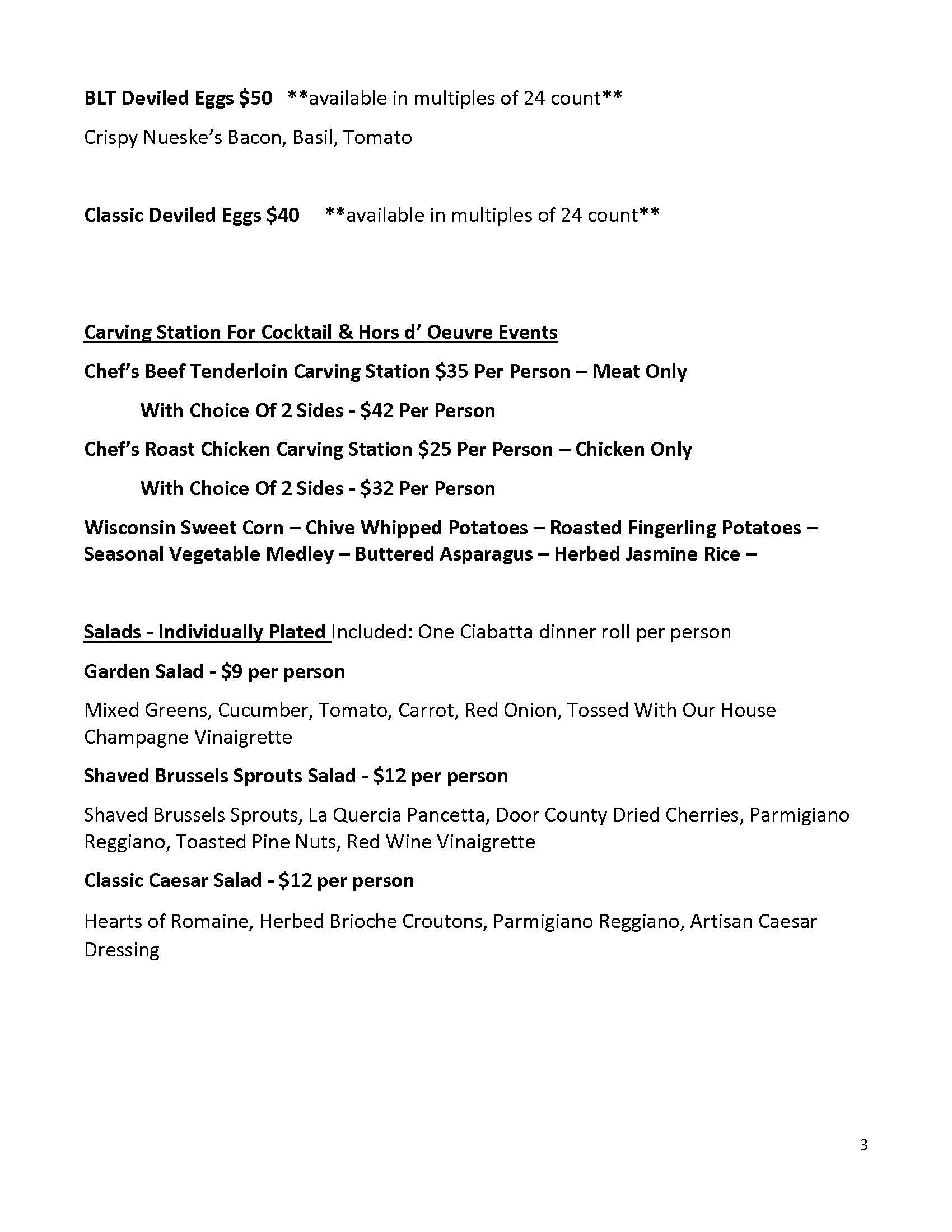 Private Event/Banquet Menu