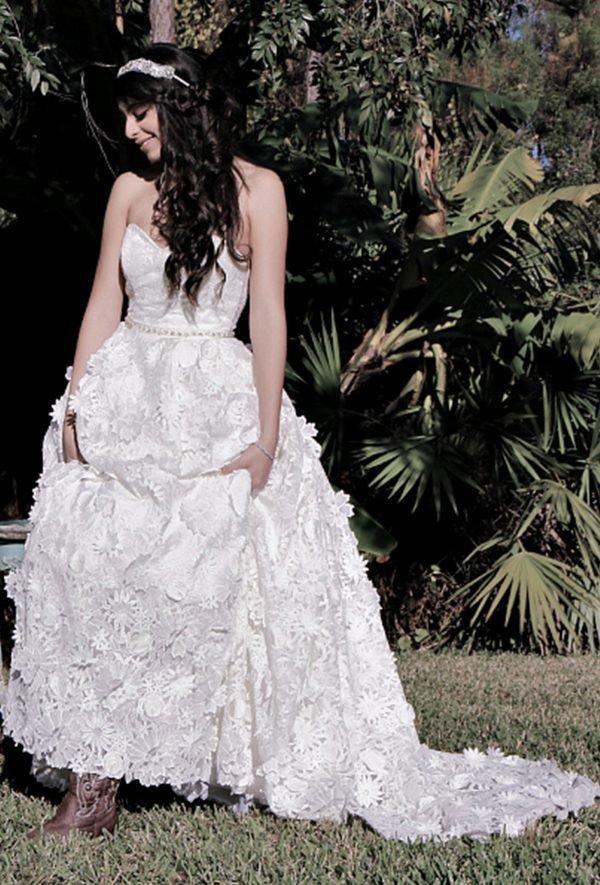 brida enjoying her beautiful dress outdoors