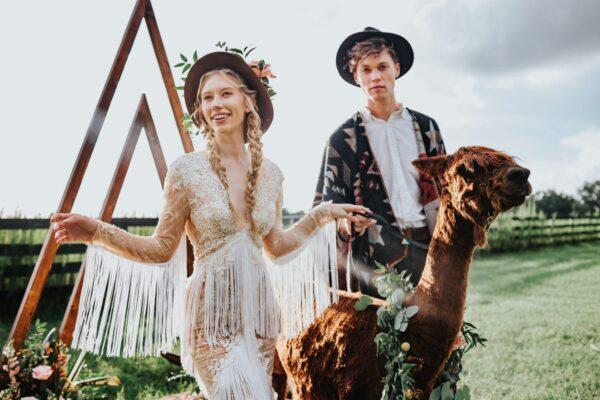 Bohemian bride, whimsical wedding bride wearing a lace boho dress