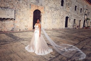bride with long cathedral veil, blush illusion lace skirt,custom design wedding dress