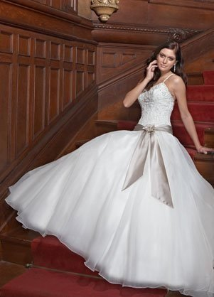 White Lace Bodice Ball Gown
