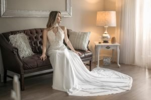 Elegant Chiffon wedding dress, Soft Chiffon Fabric bridal Gown