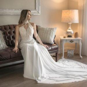 Elegant Chiffon wedding dress, Soft Chiffon Fabric bridal Gown