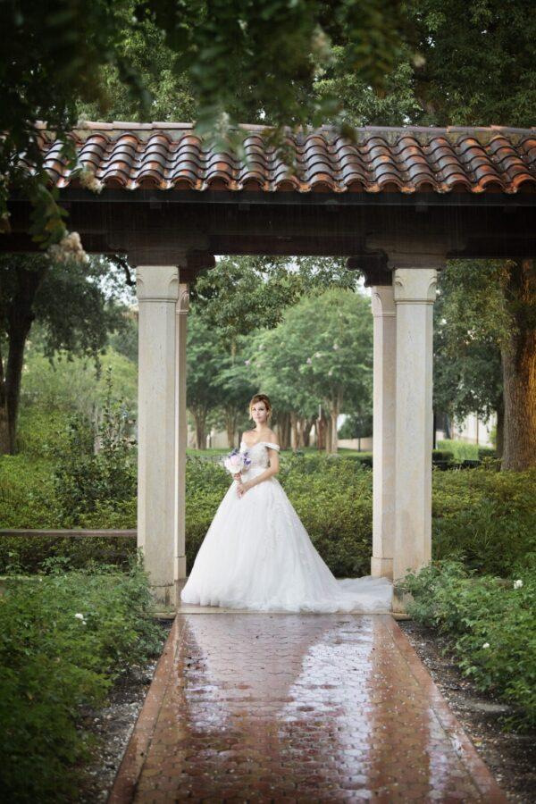 Unique off the shoulder Lace wedding dress
