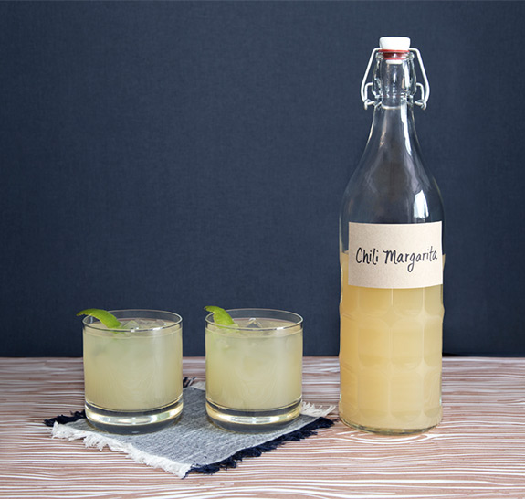 Homemade DIY Chili Margarita Cocktail in a Bottle