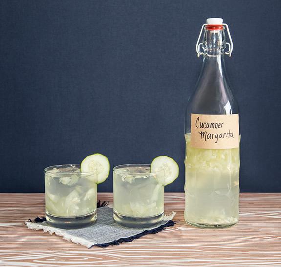 Homemade DIY Cucumber Margarita Cocktail in a Bottle