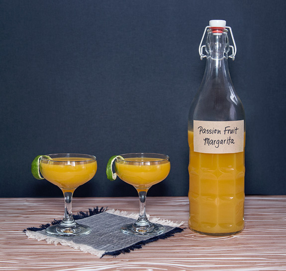 Homemade DIY Passion Fruit Margarita Cocktail in a Bottle