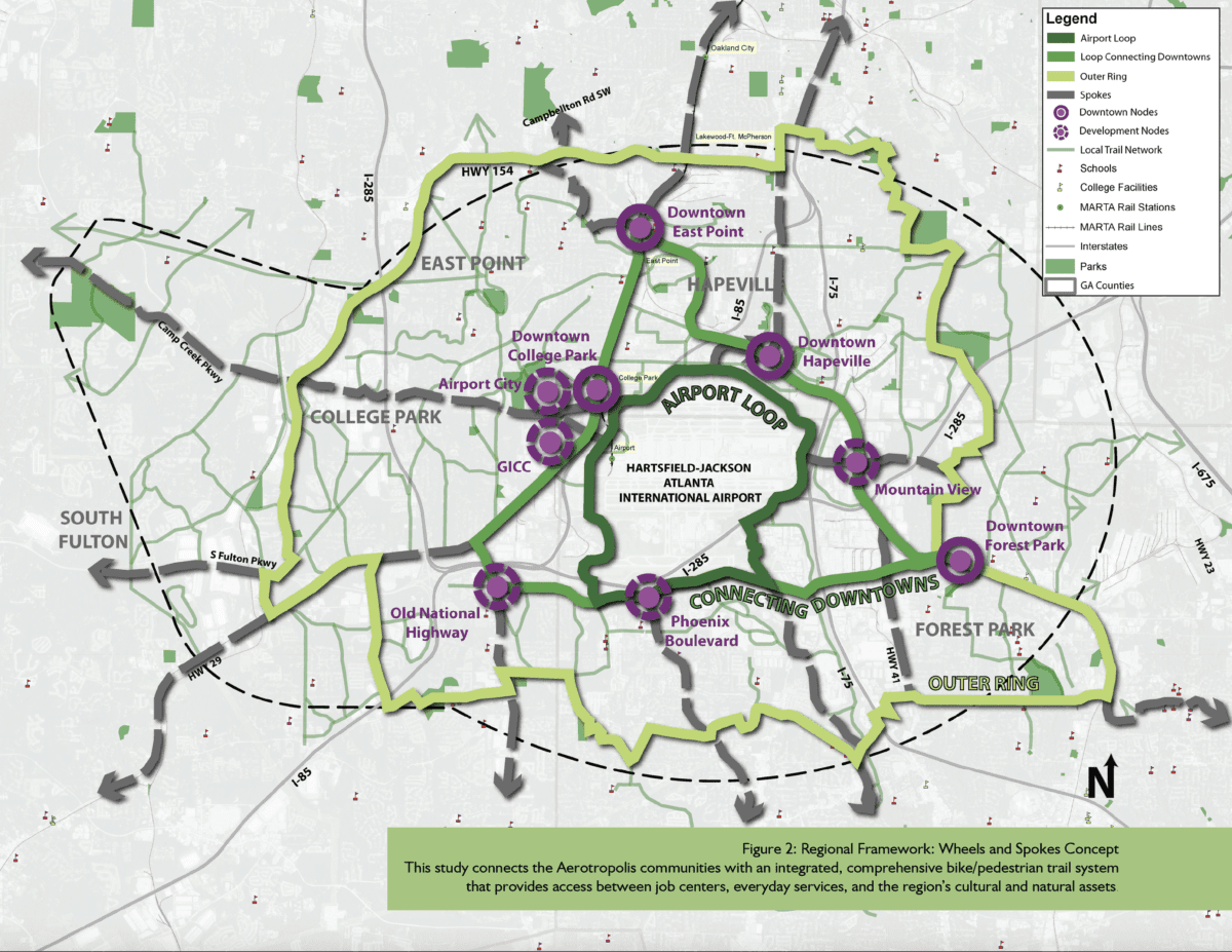 Map of proposed Aerotropolis Atlanta Model Mile trails, Airport Loop trail, and Downtown Loop trail in the Southern Crescent and Clayton County, GA