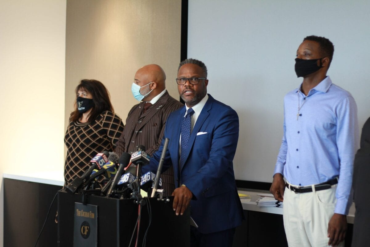 Roderick Williams (right) and his legal team at a Sept. 18 press conference at The Cochran Firm in Atlanta