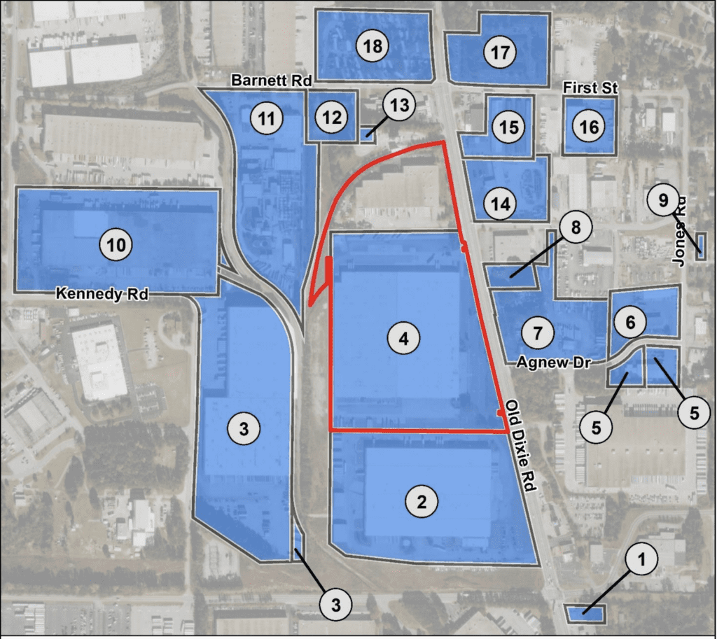 map of historic or potential historic sites surrounding proposed MARTA maintenance facility on Old Dixie Highway in Forest Park, GA