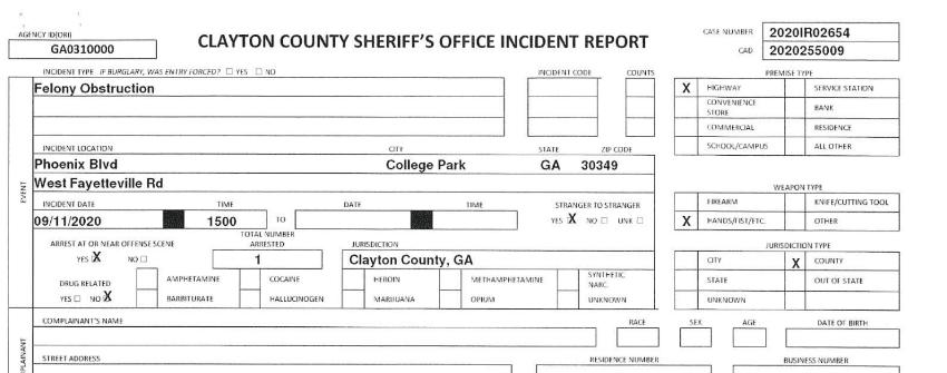 Initial incident report, Roderick Walker