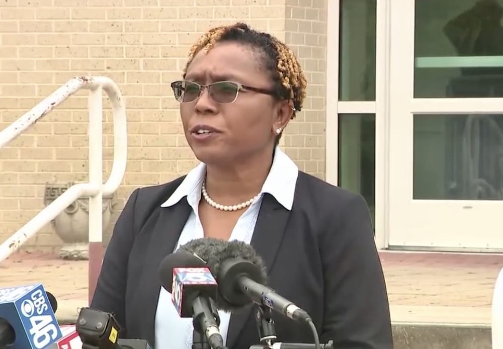 Clayton County District Attorney Tasha Mosley speaks to reporters in front of the Harold R. Banke Justice Center