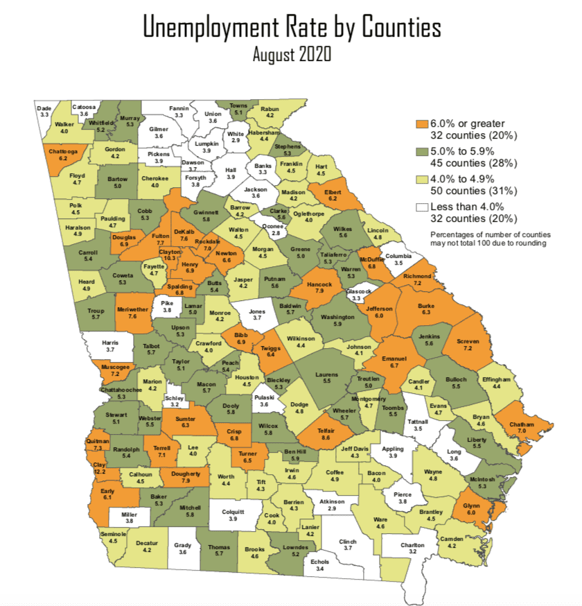 Georgia Unemployment Rates by County, Aug. 2020