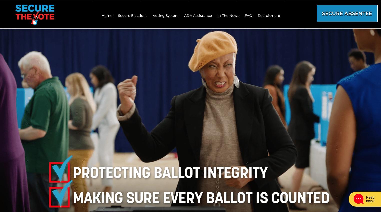 GA Secure the Vote PSA still frame of older black woman in beret raising fist after casting her vote