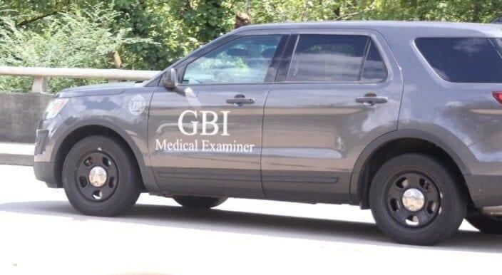 A Georgia Bureau of Investigation Medical Examiner's SUV at Flint River in Jonesboro, 2020