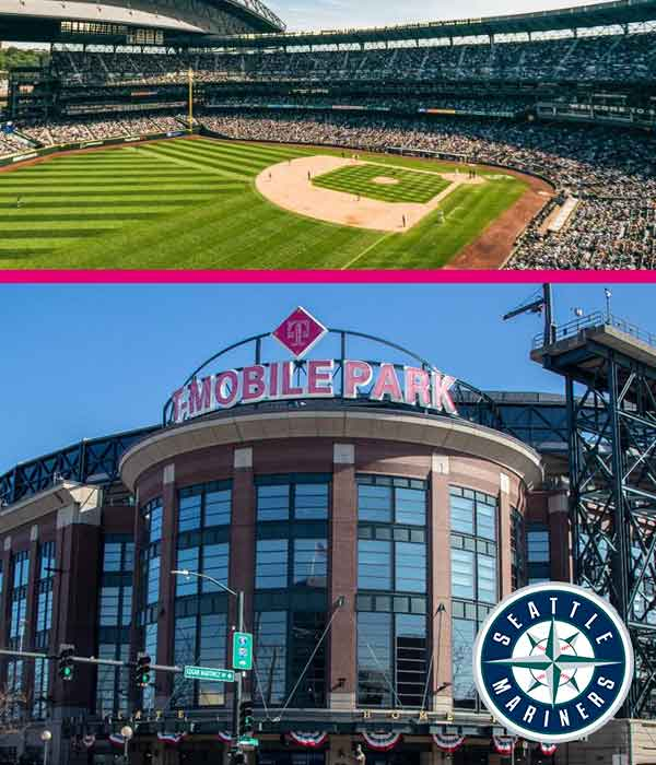 Seattle Mariners Game Promotion image showing T-Mobile Park and baseball field