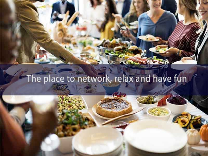 Events page promotion image of a buffet table and people helping themselves to delicious food