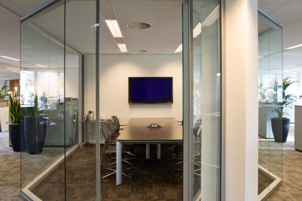 Conference table in a fully glazed cubicleYou can find more of my public interiors here: