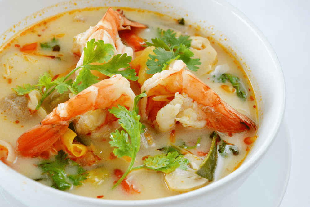 Photo of the Seafood Coconut Soup in a bowl
