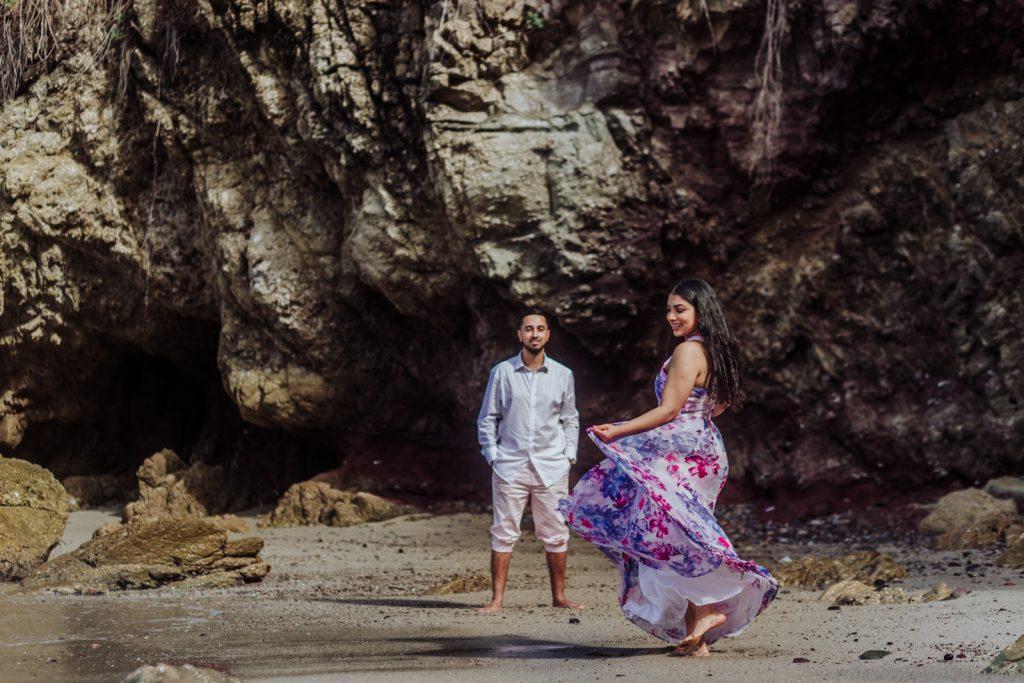 bride groom dance ocean beach fun smile