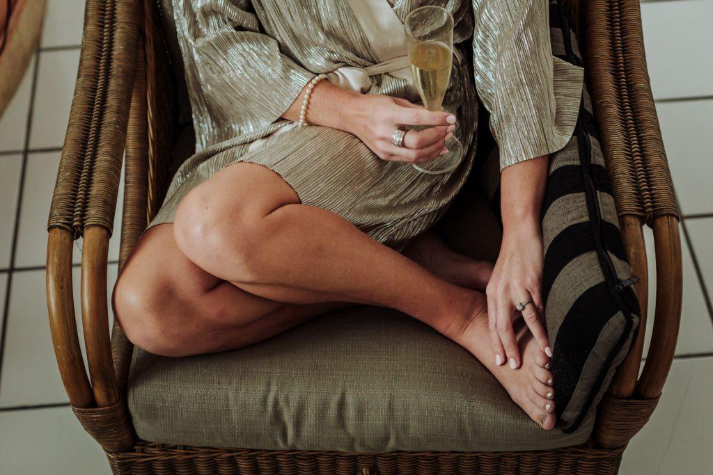 wedding bride sit legs champagne hands feet ring Vallarta mismaloya