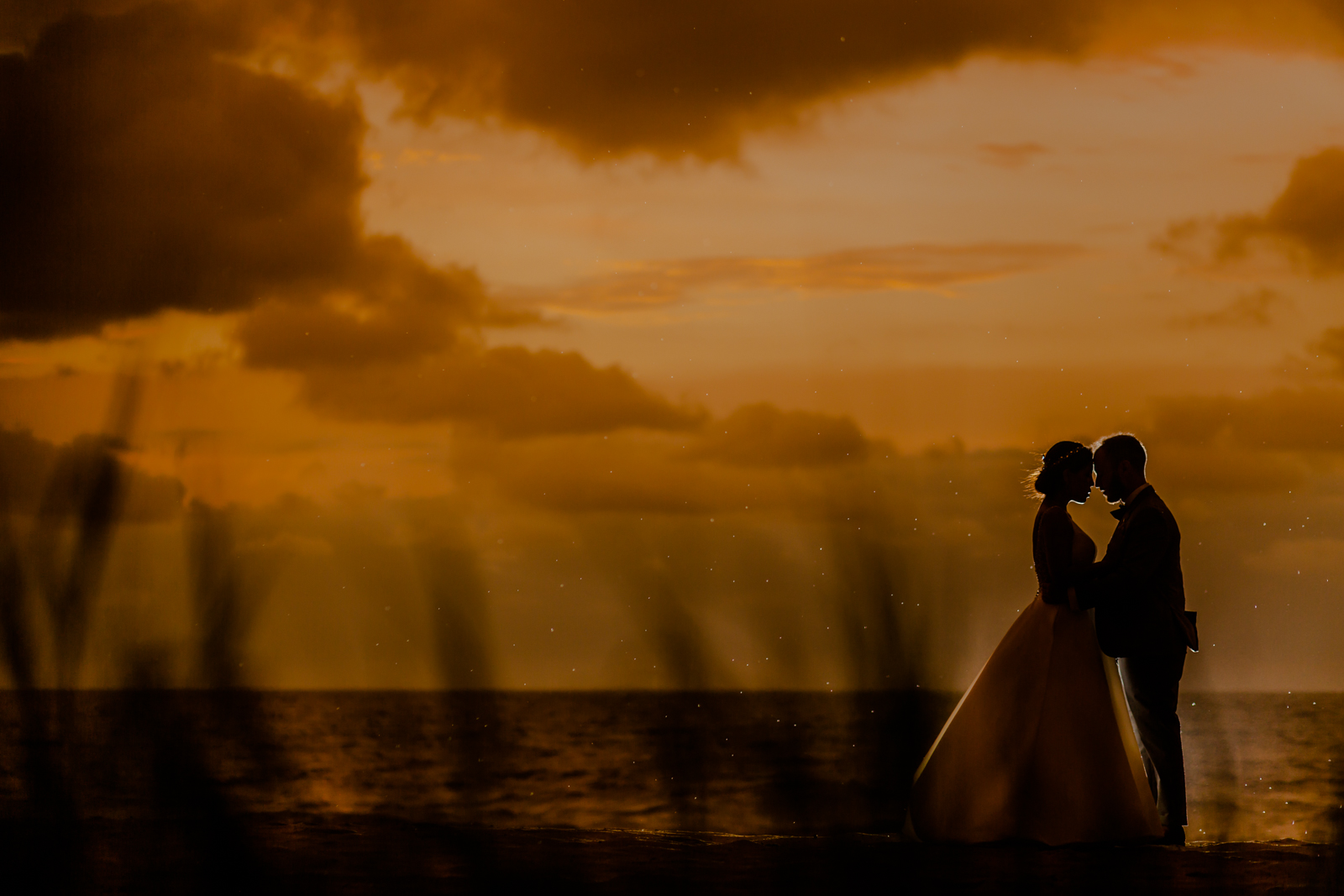 silhouette during the sunset with backlight, orange sky and ocean