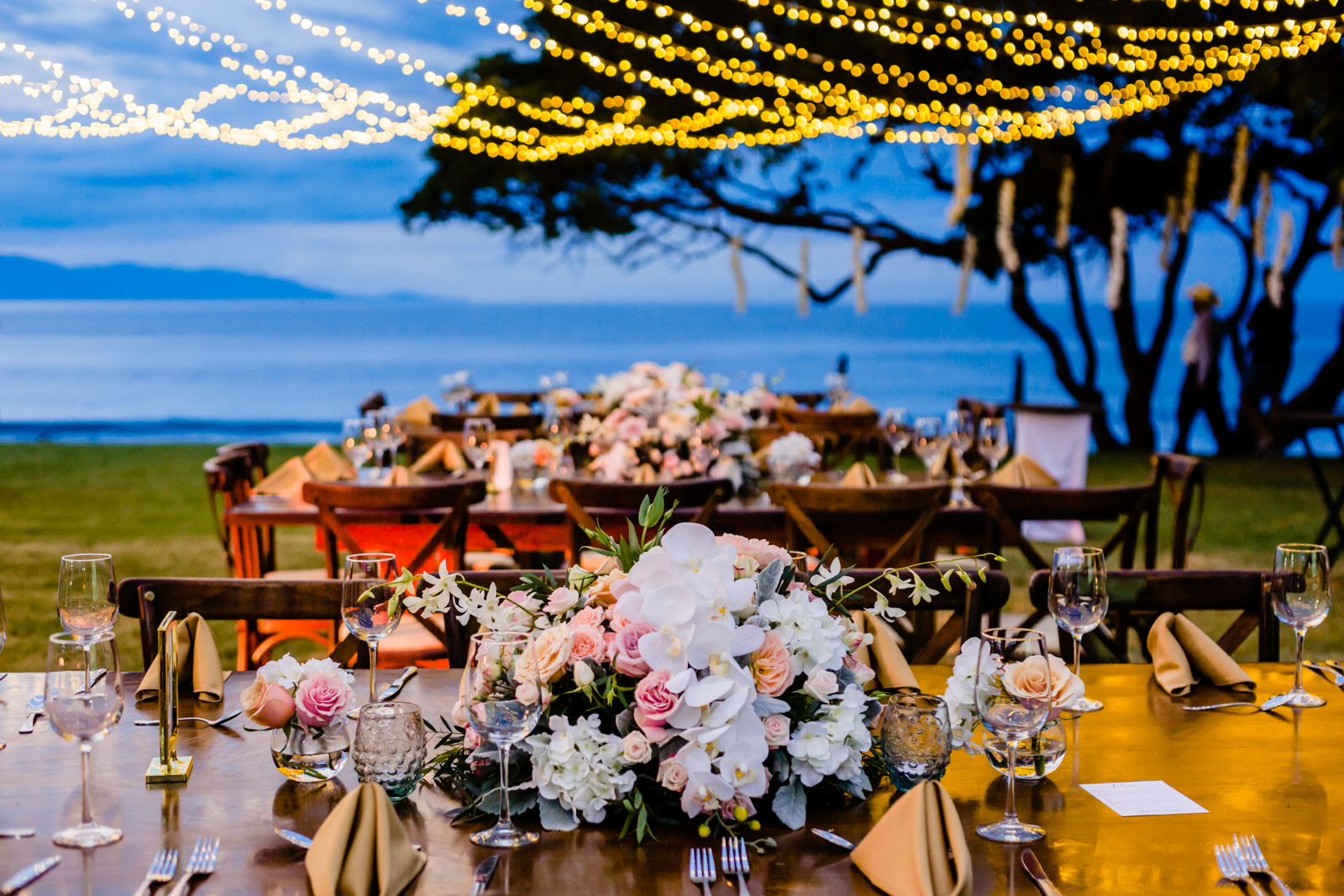 tables with flowers set up