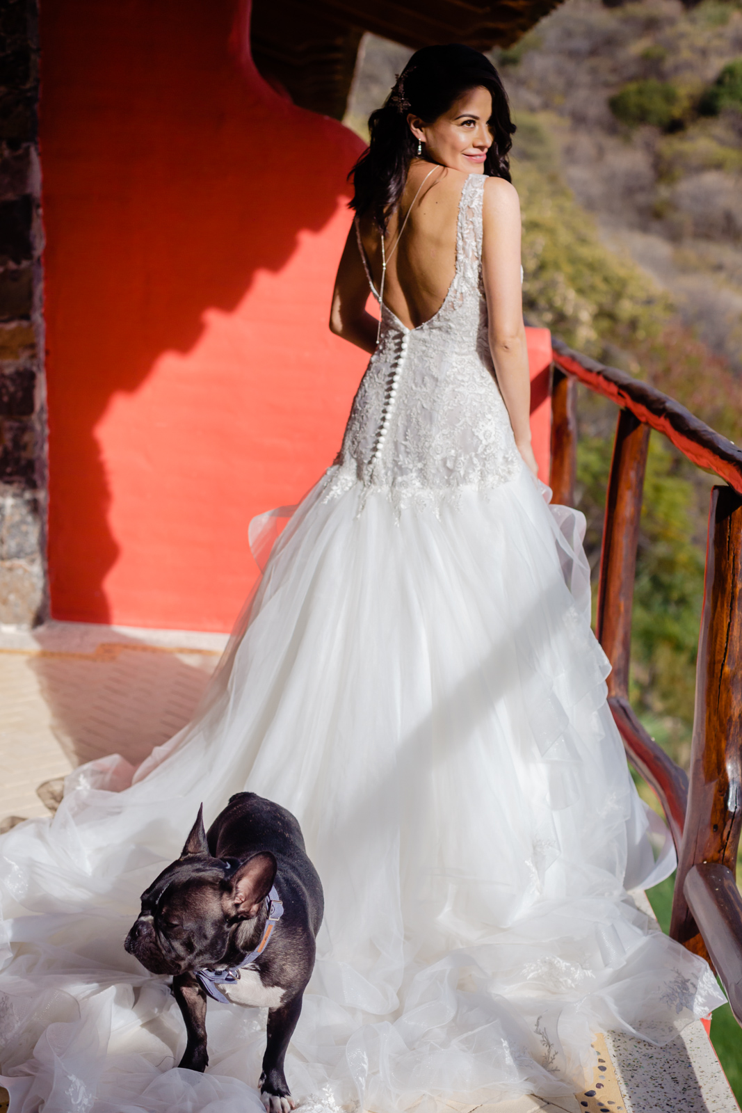 bride ready before the ceremony with the dog on the dress