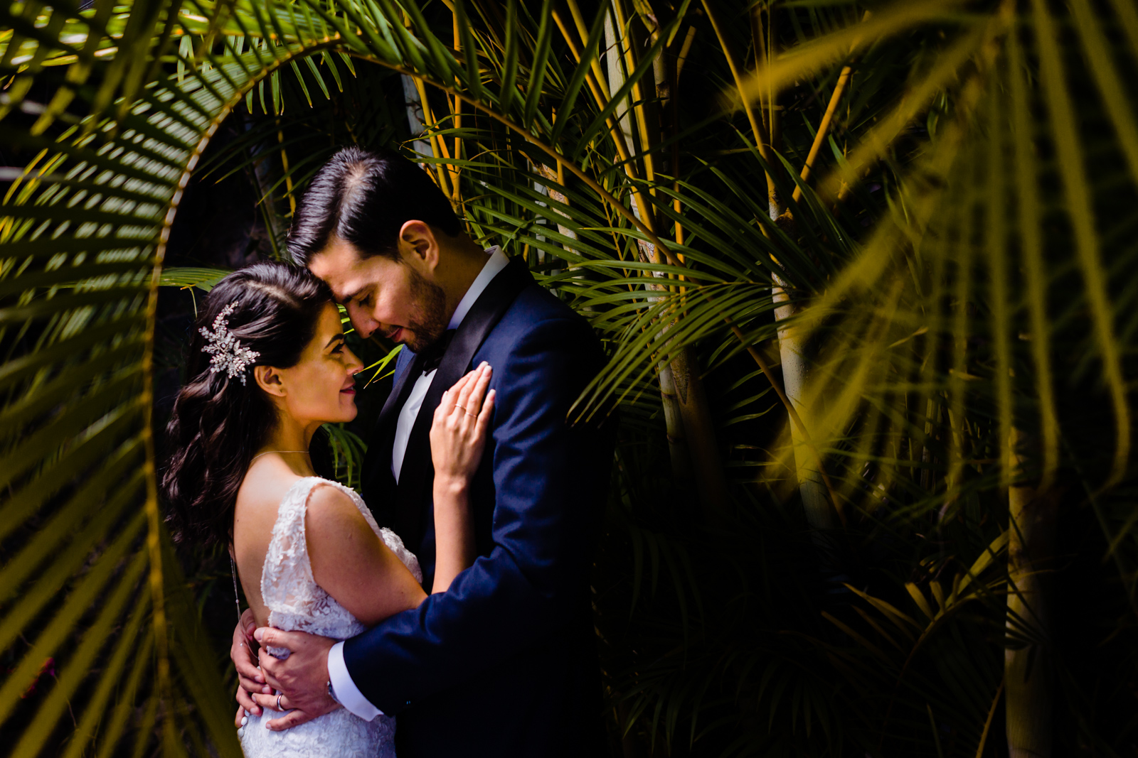 bride and groom hugs on a green garden