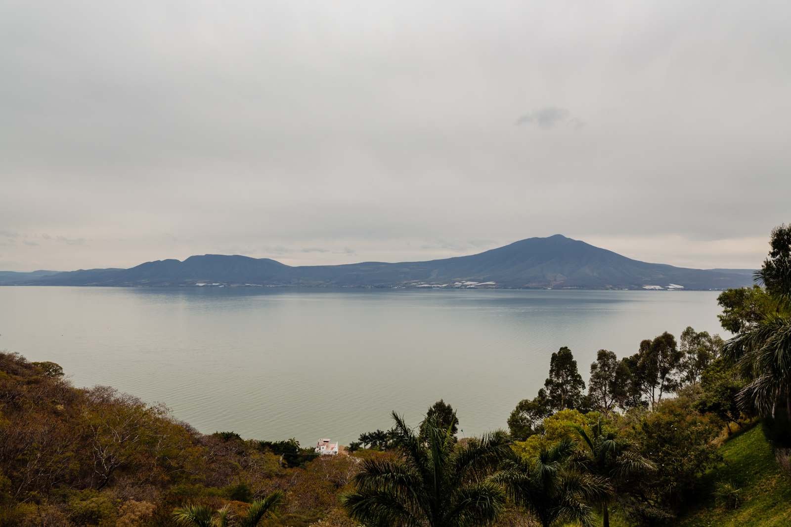 lake Chapala  on the mountain, with view on a cloudy day