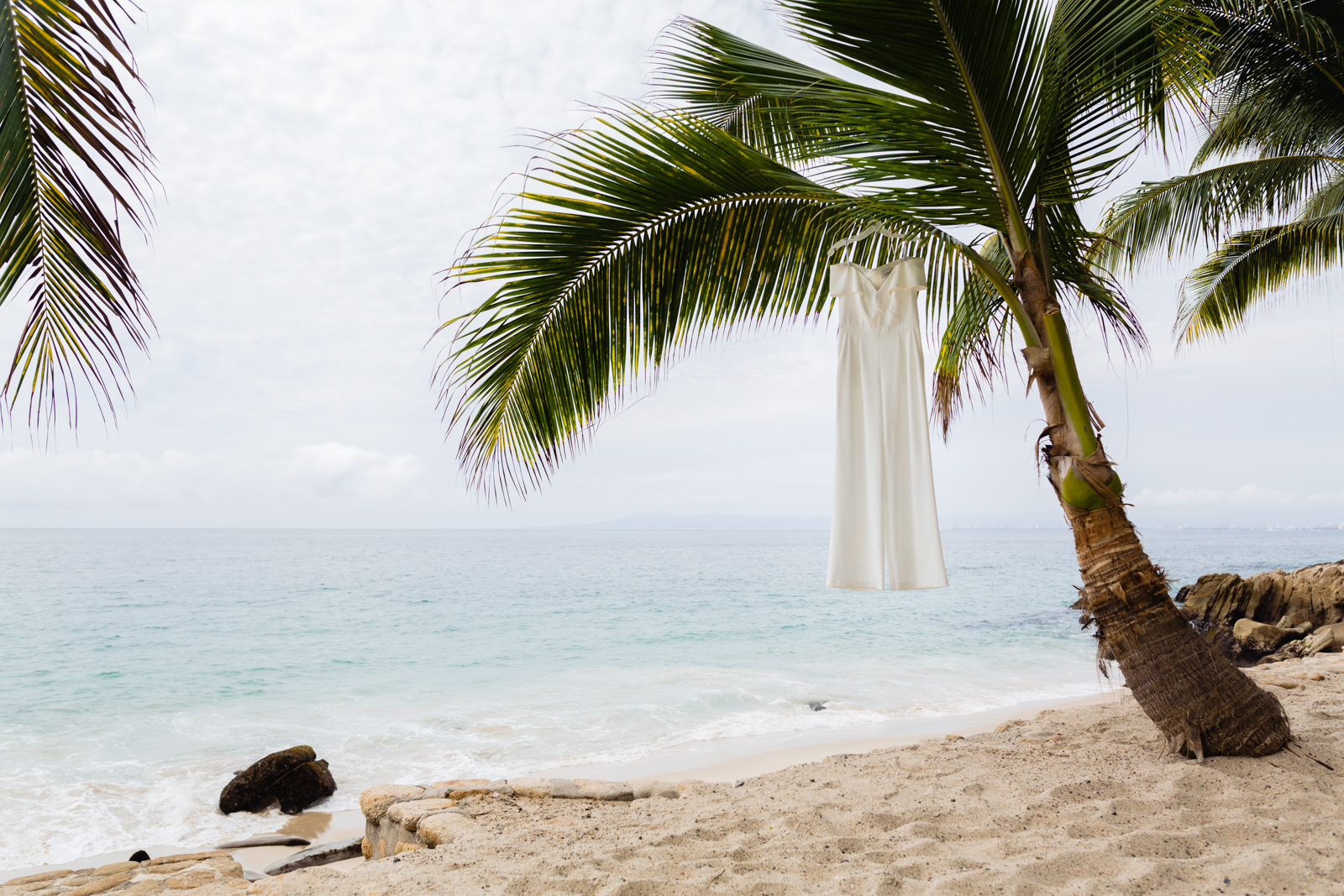 wedding dress hung on a three palms on the beach, blue ocean on the background