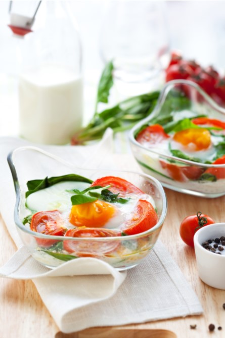 Spinach Tomato Baked Eggs