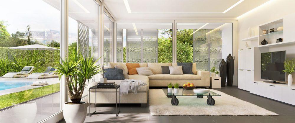 Beautiful home with glass windows