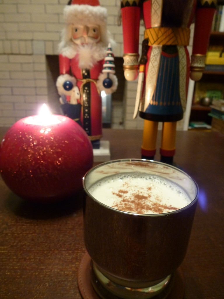 Eggnog topped with cinnamon