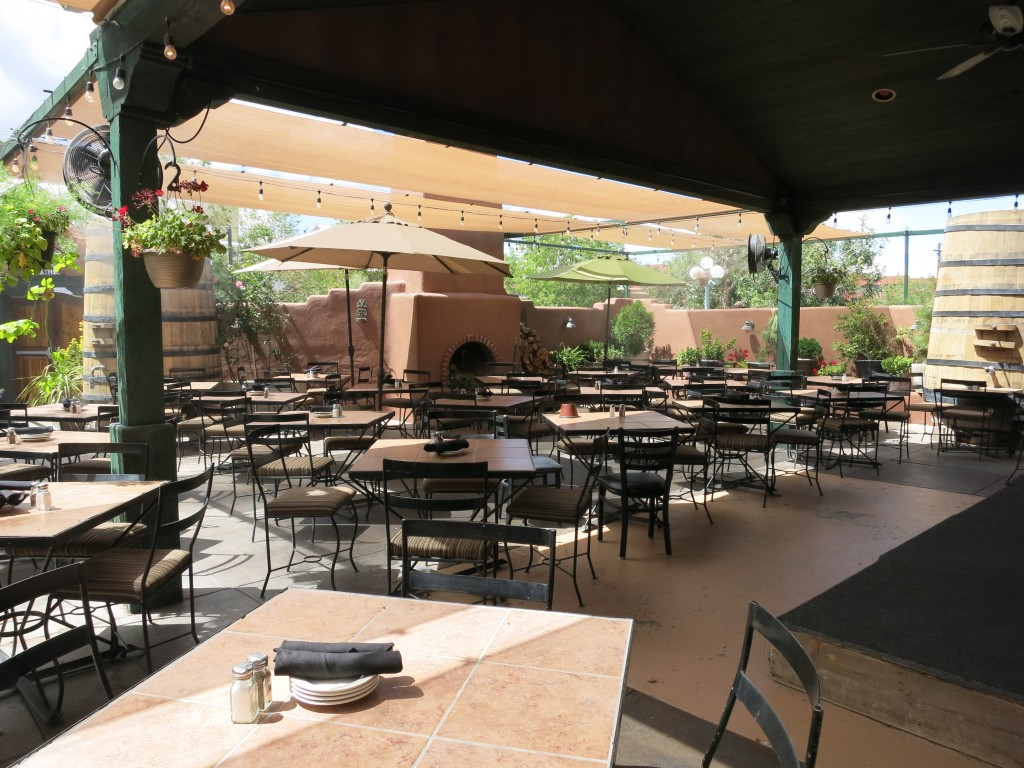 The patio of St. Clair's wine bar and bistro in Albuquerque