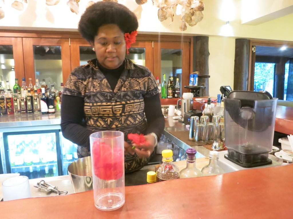 Bartender Tila at Nanuku in Fiji