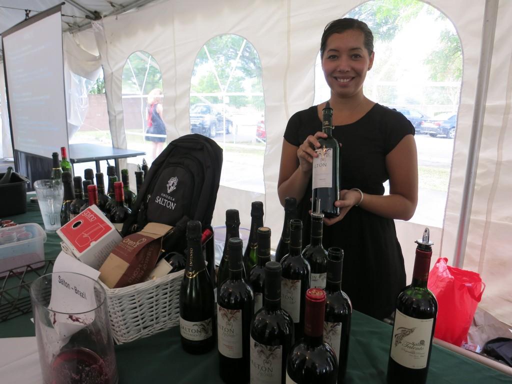 Vanessa presenting four wines by Salton