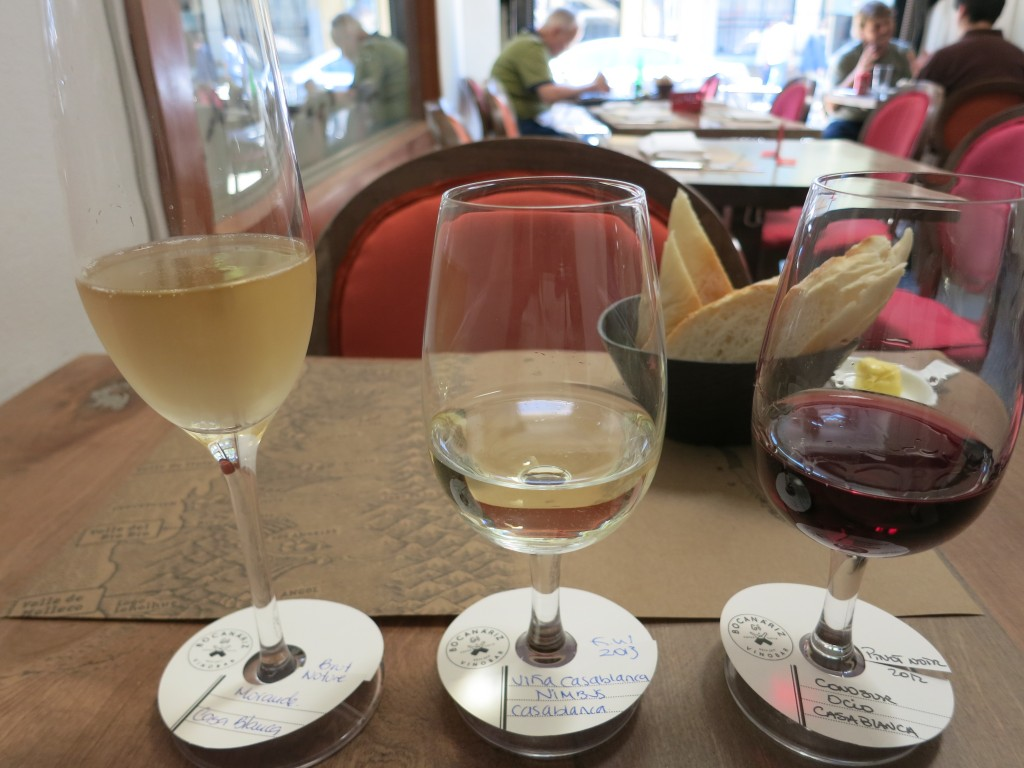 My wine flight at Bocanáriz in Santiago, Chile, with the Cono Sur Ocio at right