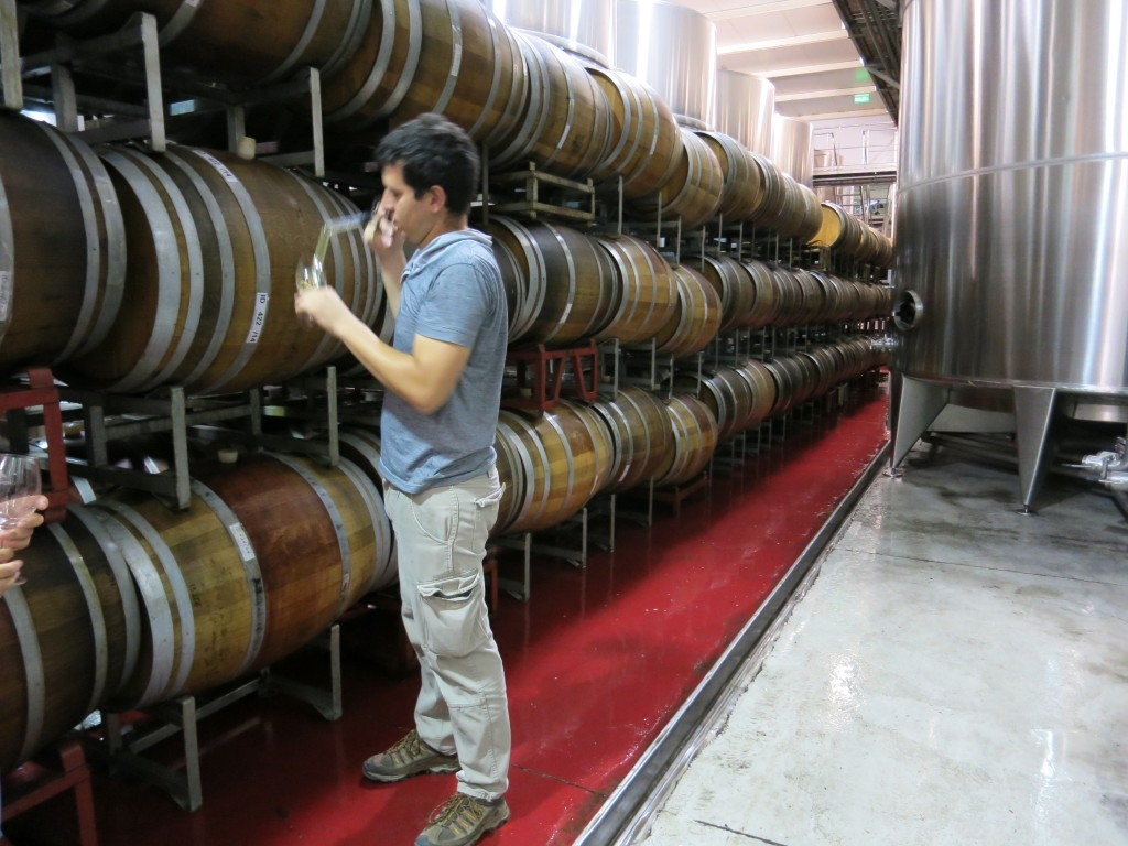 Tasting straight from the barrel in Catena Zapata's experimental winery