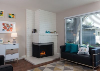Furnished living room with fireplace and window