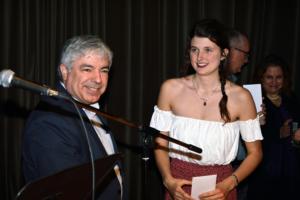 DEAN LUIGI FERRARA WITH ANNIE LOCKERBIE-NEWTON, JOHN BANNERMAN MEMORIAL BURSARY WINNER