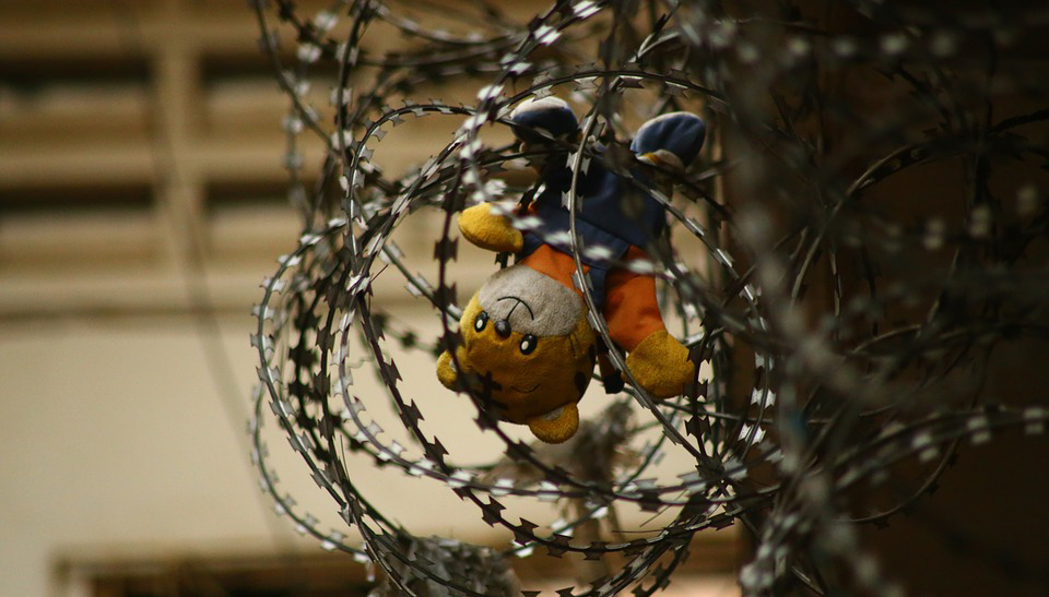 Bear Toy in bob Wire fence: failed school systems