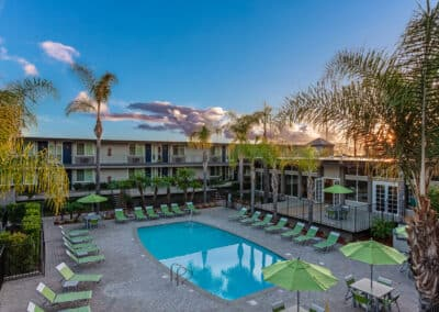 Summerwood apartment homes relaxing swimming pool over the clear sky
