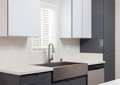 Kitchen sink with white and gray cabinets